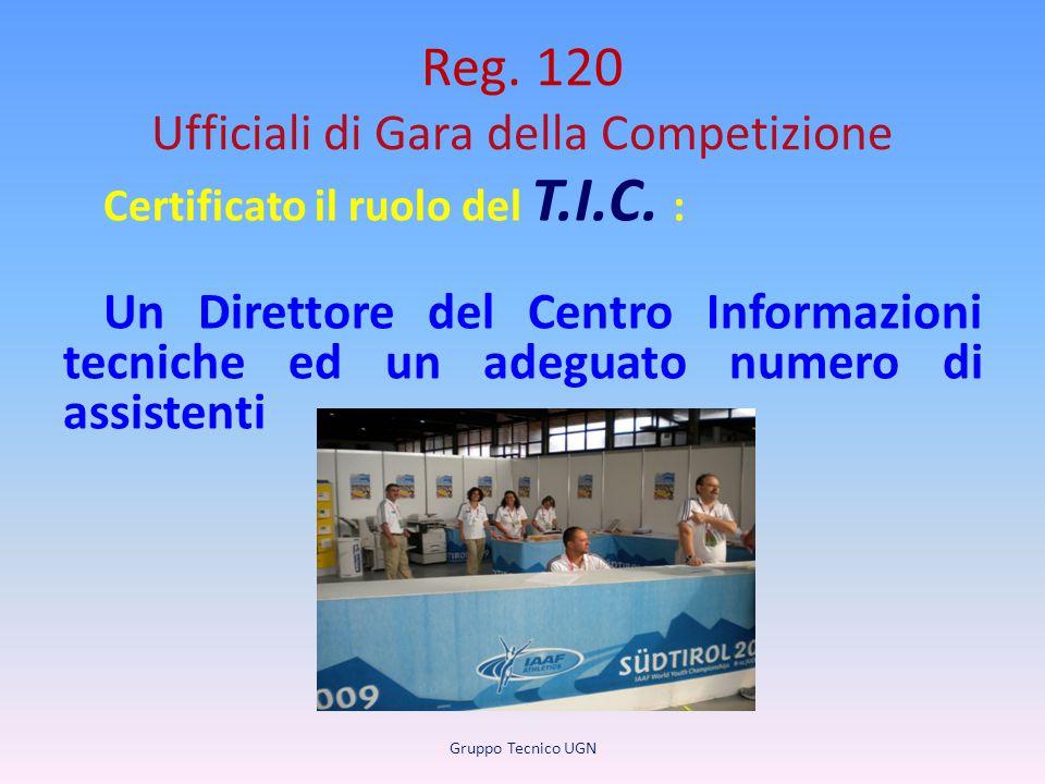 Reg. 120 Ufficiali di Gara della Competizione Certificato il ruolo del T.I.C. : Un Direttore del Centro Informazioni tecniche ed un adeguato numero di