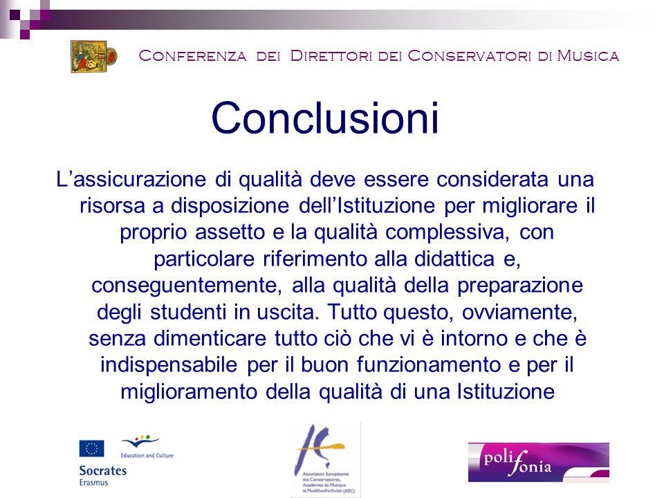 Conferenza dei Direttori dei Conservatori di Musica Conclusioni L'assicurazione di qualità deve essere considerata una risorsa a disposizione dell'Istituzione per migliorare il proprio assetto e la qualità complessiva, con particolare riferimento alla didattica e, conseguentemente, alla qualità della preparazione degli studenti in uscita.