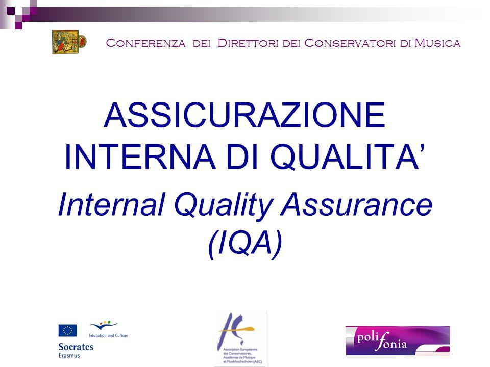 ASSICURAZIONE INTERNA DI QUALITA' Internal Quality Assurance (IQA)