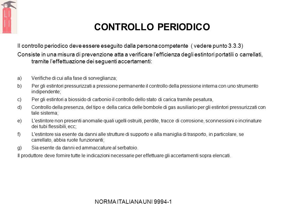 NORMA ITALIANA UNI 9994-1 CONTROLLO PERIODICO Il controllo periodico deve essere eseguito dalla persona competente ( vedere punto 3.3.3) Consiste in u
