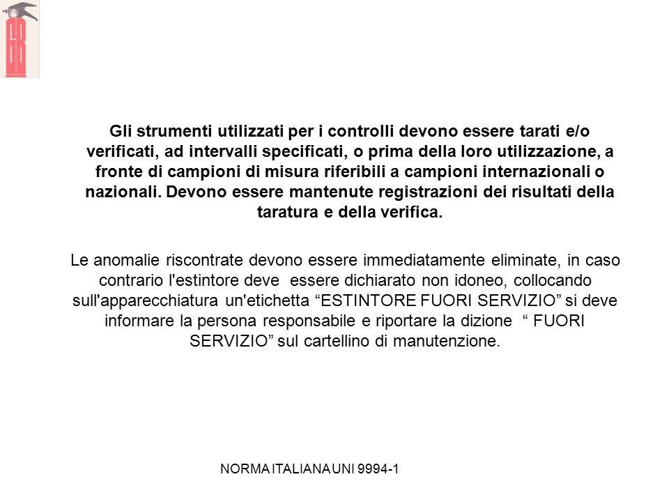 NORMA ITALIANA UNI 9994-1 Gli strumenti utilizzati per i controlli devono essere tarati e/o verificati, ad intervalli specificati, o prima della loro