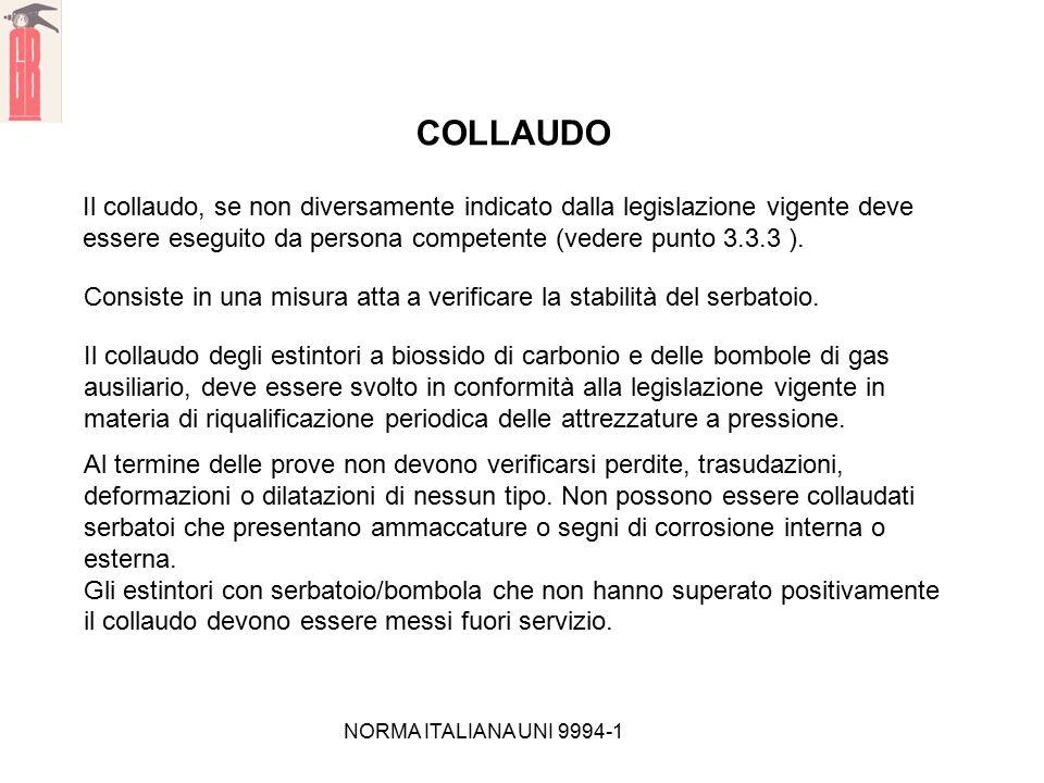 NORMA ITALIANA UNI 9994-1 COLLAUDO Il collaudo, se non diversamente indicato dalla legislazione vigente deve essere eseguito da persona competente (ve