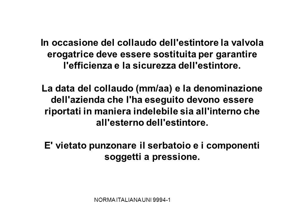 NORMA ITALIANA UNI 9994-1 In occasione del collaudo dell'estintore la valvola erogatrice deve essere sostituita per garantire l'efficienza e la sicure