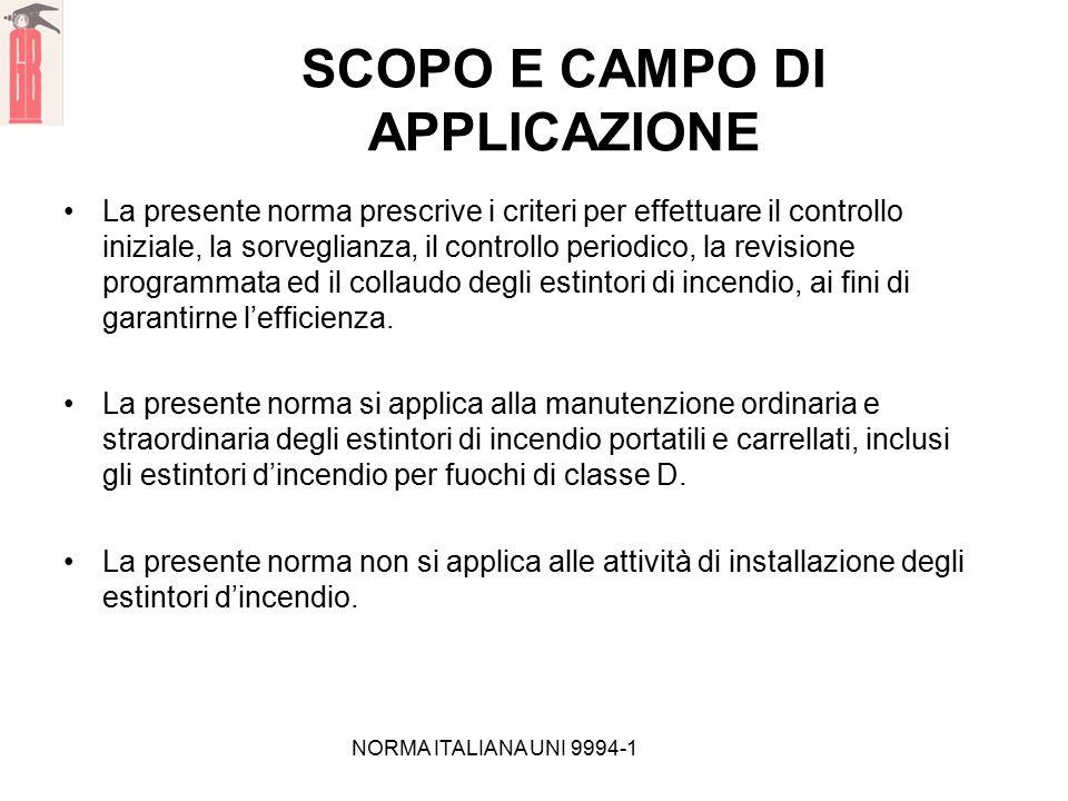 NORMA ITALIANA UNI 9994-1 SCOPO E CAMPO DI APPLICAZIONE La presente norma prescrive i criteri per effettuare il controllo iniziale, la sorveglianza, i