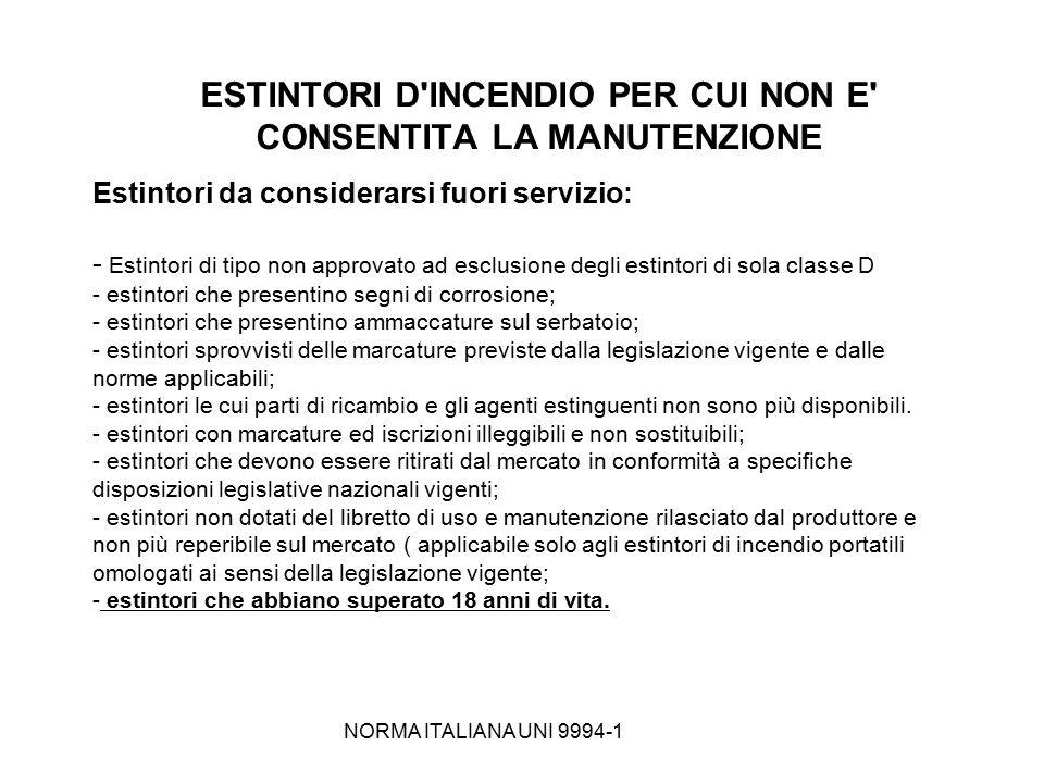 NORMA ITALIANA UNI 9994-1 ESTINTORI D'INCENDIO PER CUI NON E' CONSENTITA LA MANUTENZIONE Estintori da considerarsi fuori servizio: - Estintori di tipo