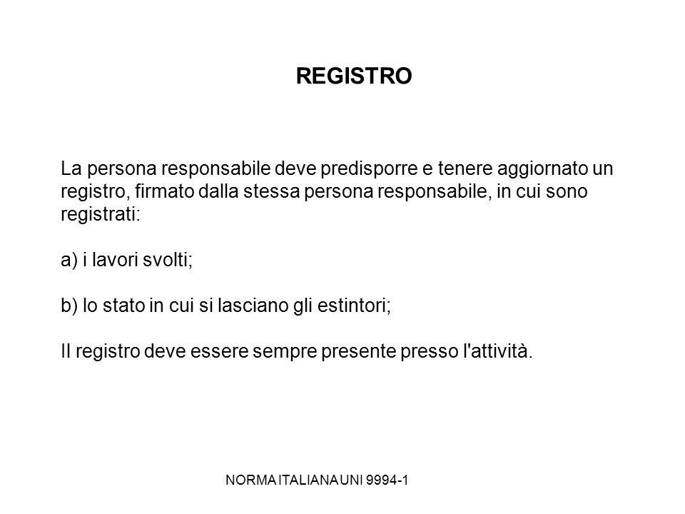 NORMA ITALIANA UNI 9994-1 REGISTRO La persona responsabile deve predisporre e tenere aggiornato un registro, firmato dalla stessa persona responsabile