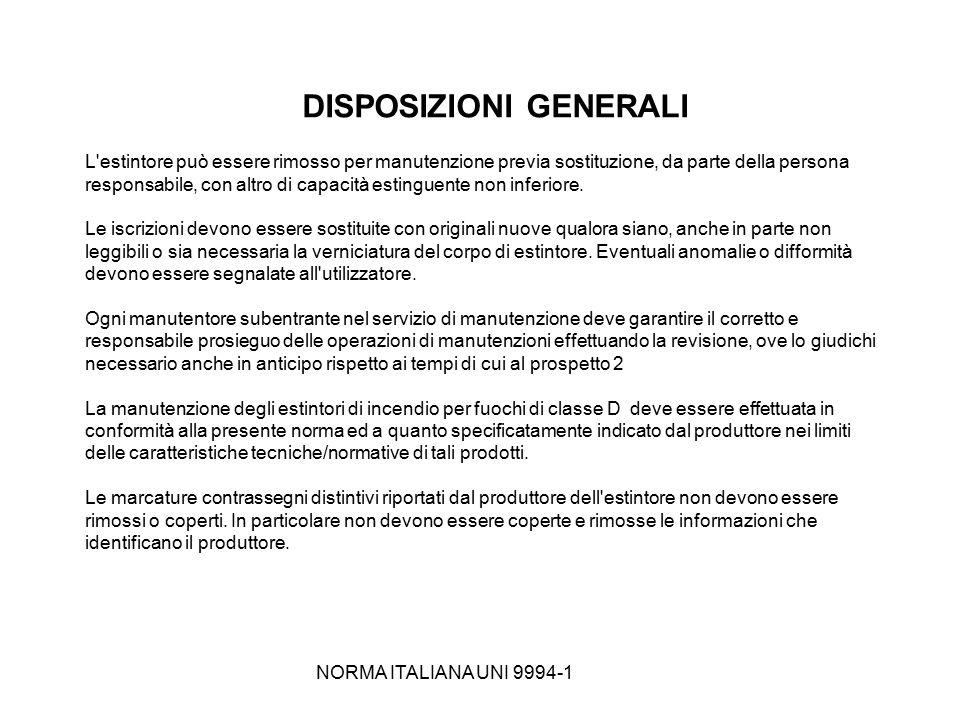 NORMA ITALIANA UNI 9994-1 DISPOSIZIONI GENERALI L'estintore può essere rimosso per manutenzione previa sostituzione, da parte della persona responsabi