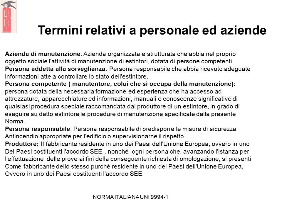 NORMA ITALIANA UNI 9994-1 Termini relativi a personale ed aziende Azienda di manutenzione: Azienda organizzata e strutturata che abbia nel proprio ogg