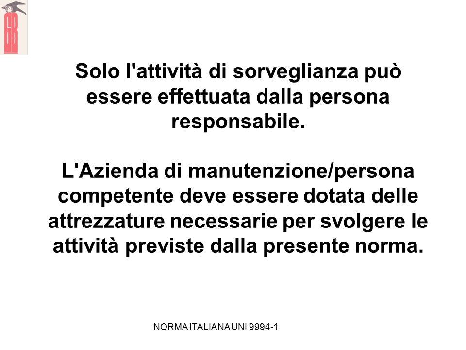 NORMA ITALIANA UNI 9994-1 Solo l'attività di sorveglianza può essere effettuata dalla persona responsabile. L'Azienda di manutenzione/persona competen