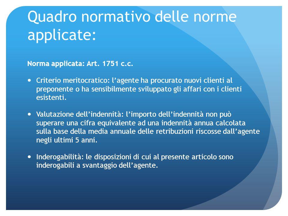 Quadro normativo delle norme applicate: Norma applicata: Art. 1751 c.c. Criterio meritocratico: l'agente ha procurato nuovi clienti al preponente o ha