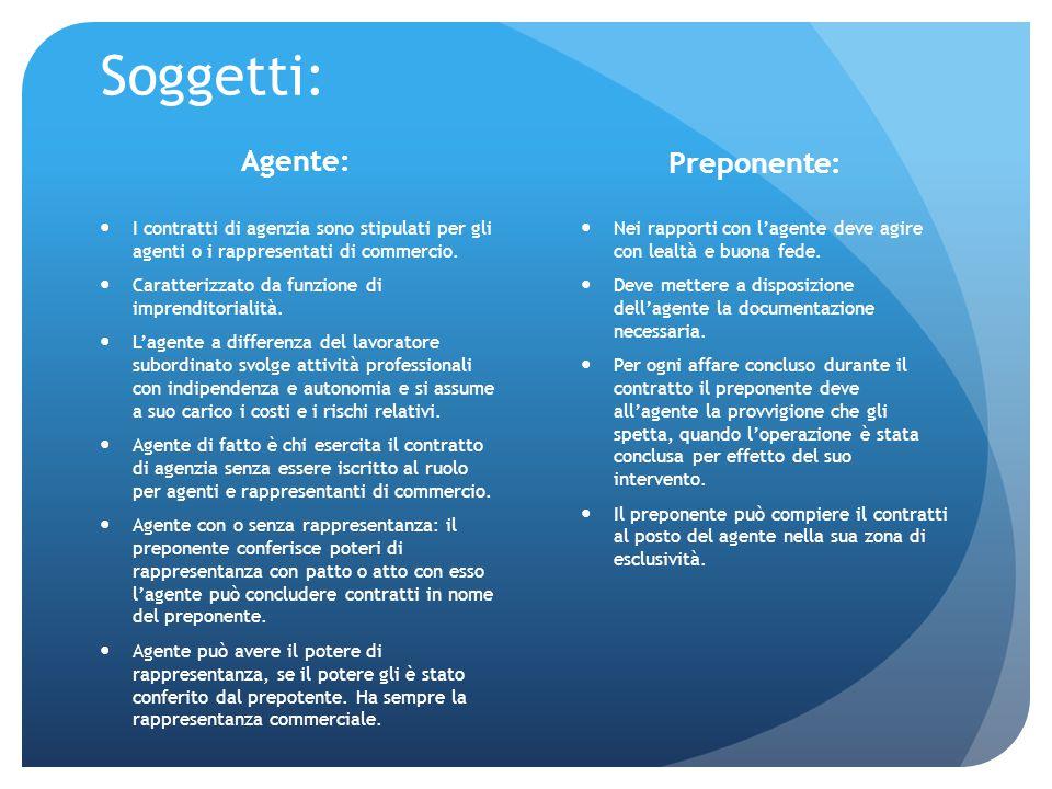 Soggetti: I contratti di agenzia sono stipulati per gli agenti o i rappresentati di commercio. Caratterizzato da funzione di imprenditorialità. L'agen