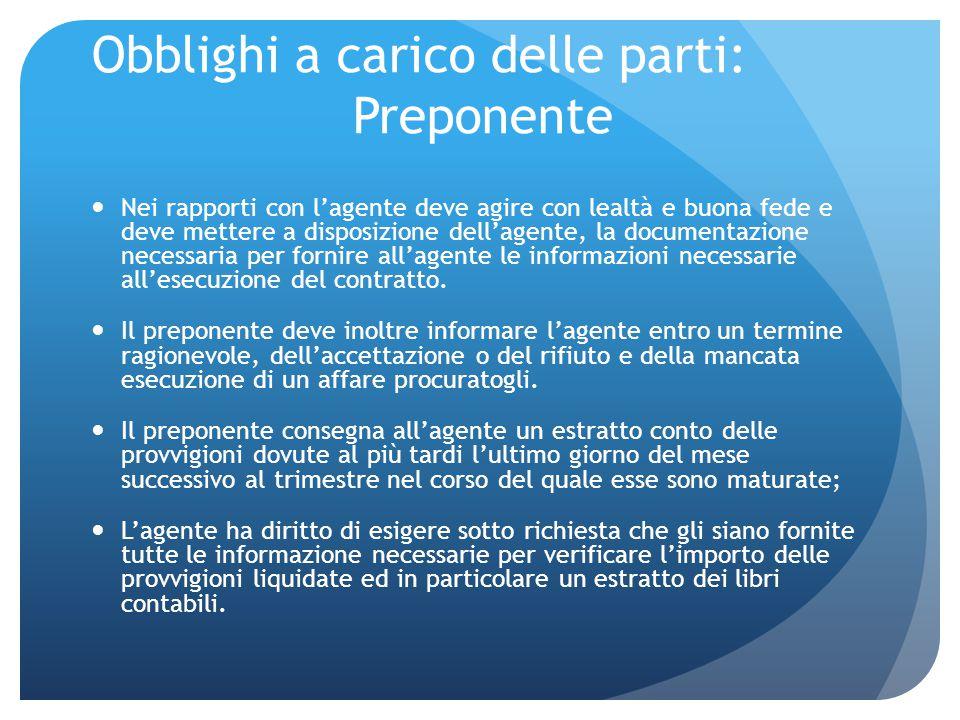 Diritto di esclusiva Il preponente non può avvalersi di più agenti contemporaneamente nella stessa zona e per lo stesso ramo di attività.