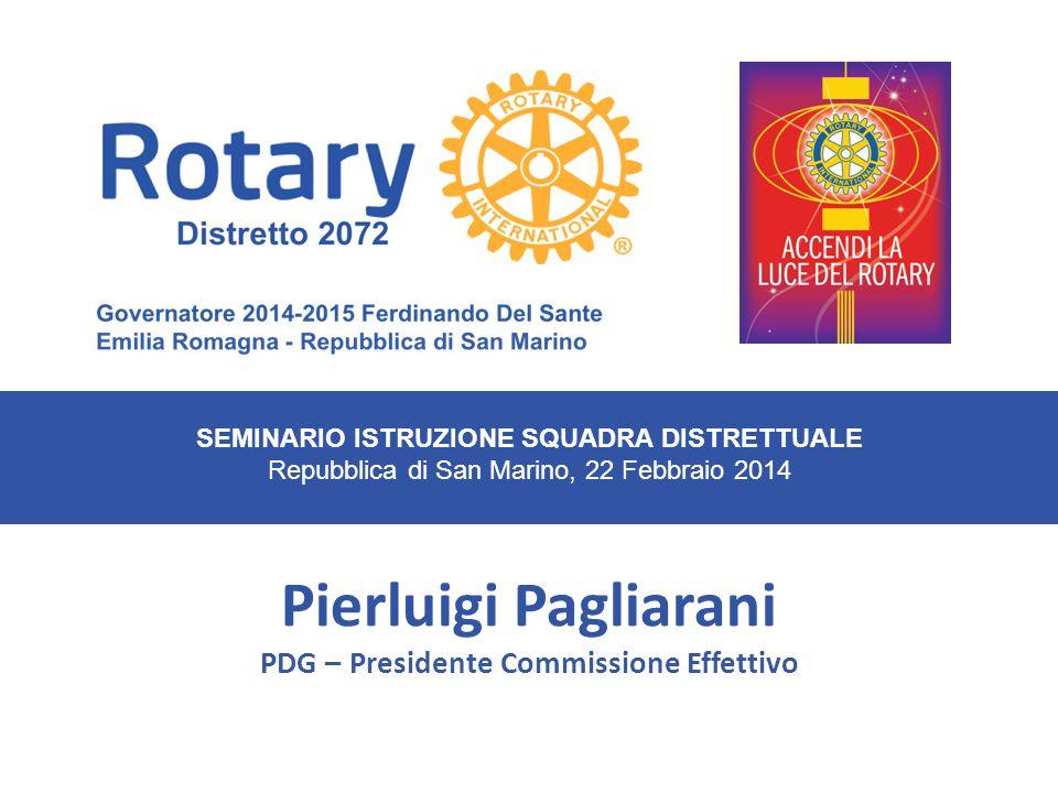 SEMINARIO ISTRUZIONE SQUADRA DISTRETTUALE Repubblica di San Marino, 22 Febbraio 2014 Pierluigi Pagliarani PDG – Presidente Commissione Effettivo Distretto 2072