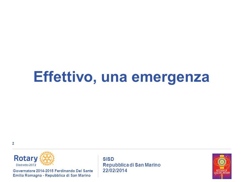 3 SISD Repubblica di San Marino 22/02/2014 Governatore 2014-2015 Ferdinando Del Sante Emilia Romagna - Repubblica di San Marino Distretto 2072 1586 «acqua alle corde!» - 2012-13-14, 3%+3%+3%