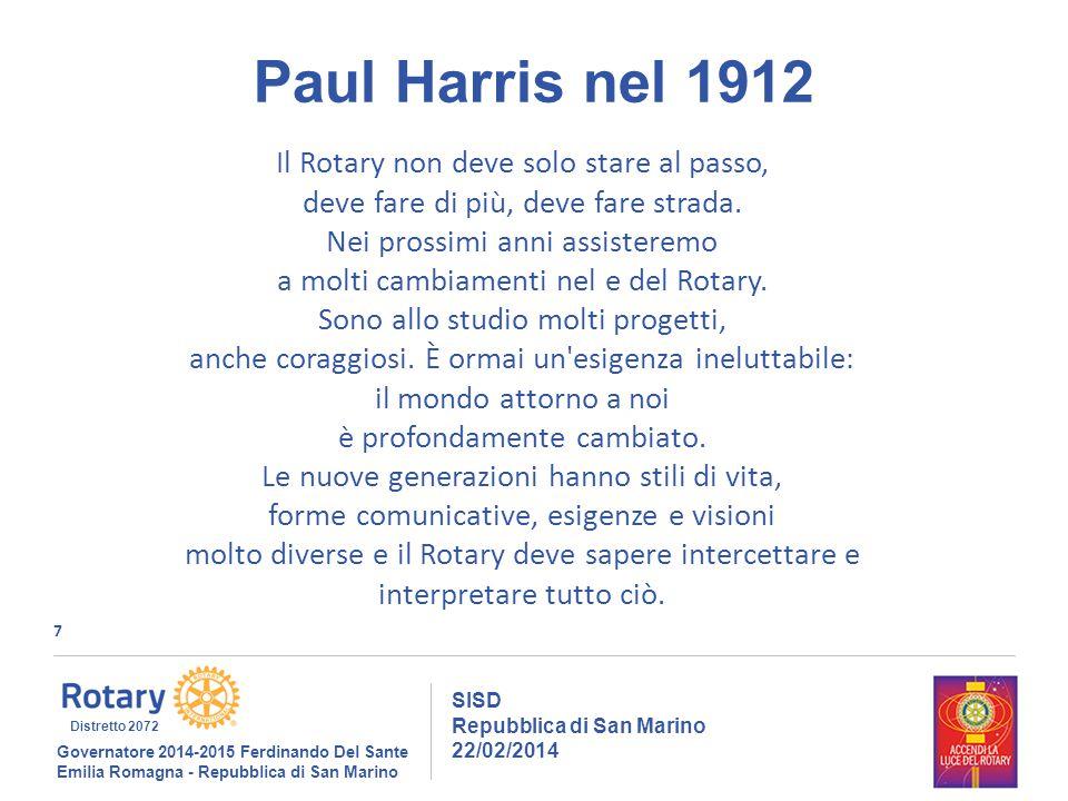 7 SISD Repubblica di San Marino 22/02/2014 Governatore 2014-2015 Ferdinando Del Sante Emilia Romagna - Repubblica di San Marino Distretto 2072 Paul Harris nel 1912 Il Rotary non deve solo stare al passo, deve fare di più, deve fare strada.