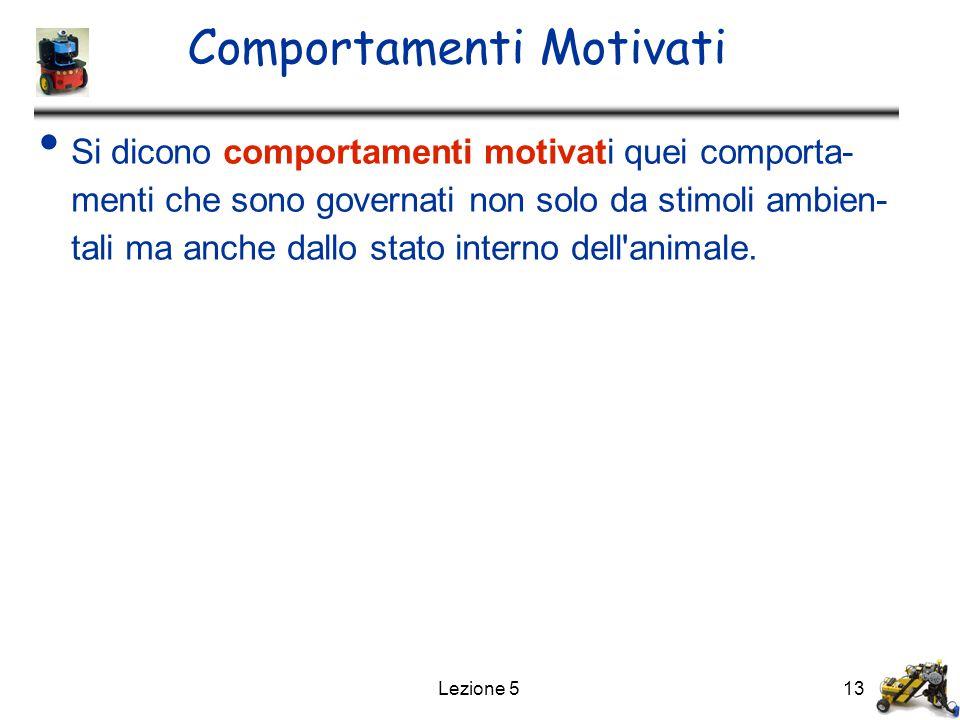 Lezione 513 Comportamenti Motivati Si dicono comportamenti motivati quei comporta- menti che sono governati non solo da stimoli ambien- tali ma anche