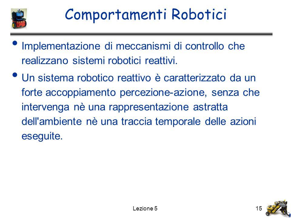 Lezione 515 Comportamenti Robotici Implementazione di meccanismi di controllo che realizzano sistemi robotici reattivi. Un sistema robotico reattivo è