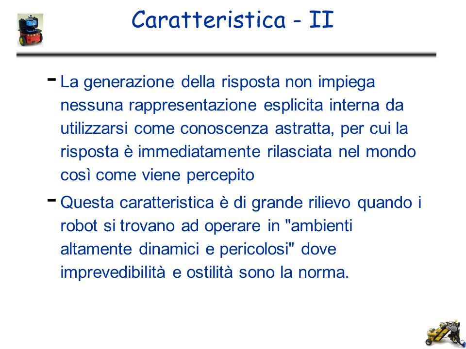Caratteristica - II - La generazione della risposta non impiega nessuna rappresentazione esplicita interna da utilizzarsi come conoscenza astratta, pe