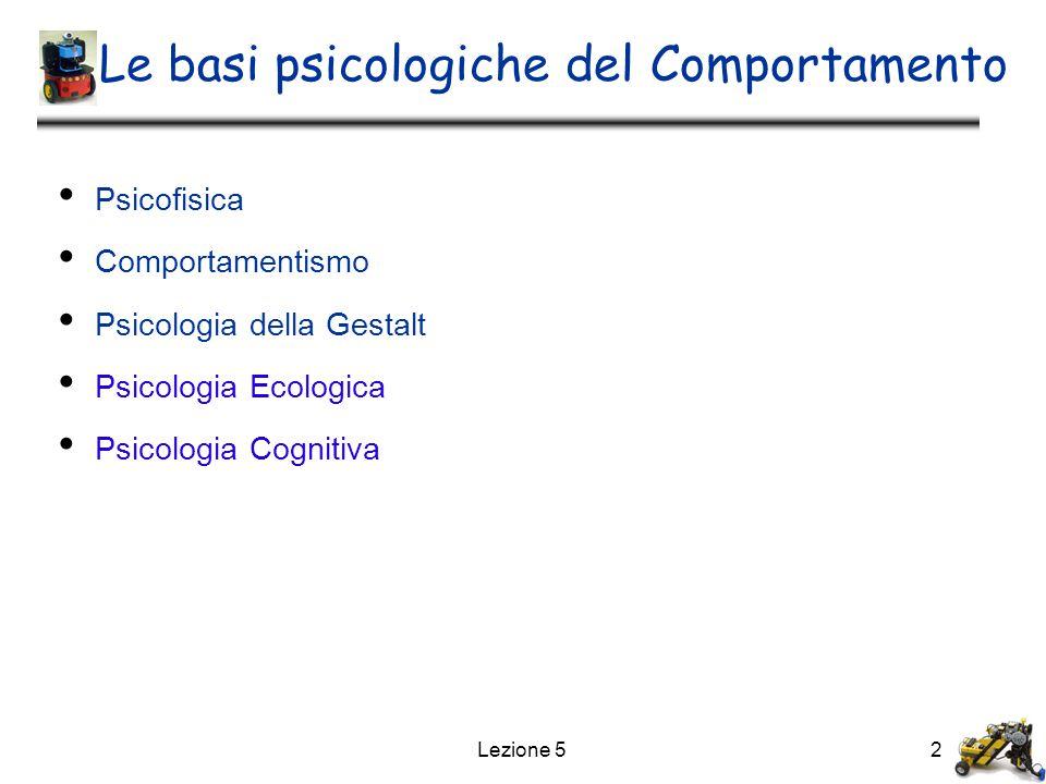 2 Le basi psicologiche del Comportamento Psicofisica Comportamentismo Psicologia della Gestalt Psicologia Ecologica Psicologia Cognitiva