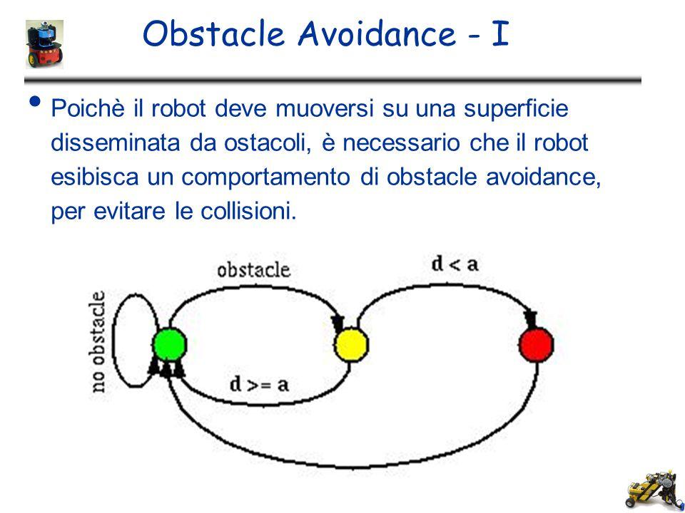 Obstacle Avoidance - I Poichè il robot deve muoversi su una superficie disseminata da ostacoli, è necessario che il robot esibisca un comportamento di