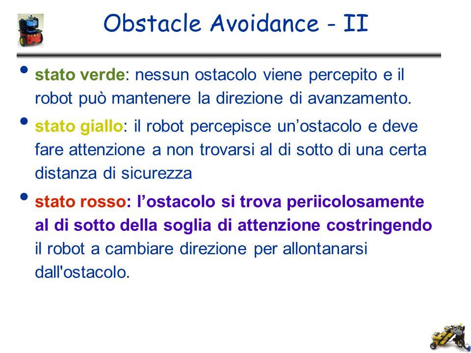 Obstacle Avoidance - II stato verde: nessun ostacolo viene percepito e il robot può mantenere la direzione di avanzamento. stato giallo: il robot perc