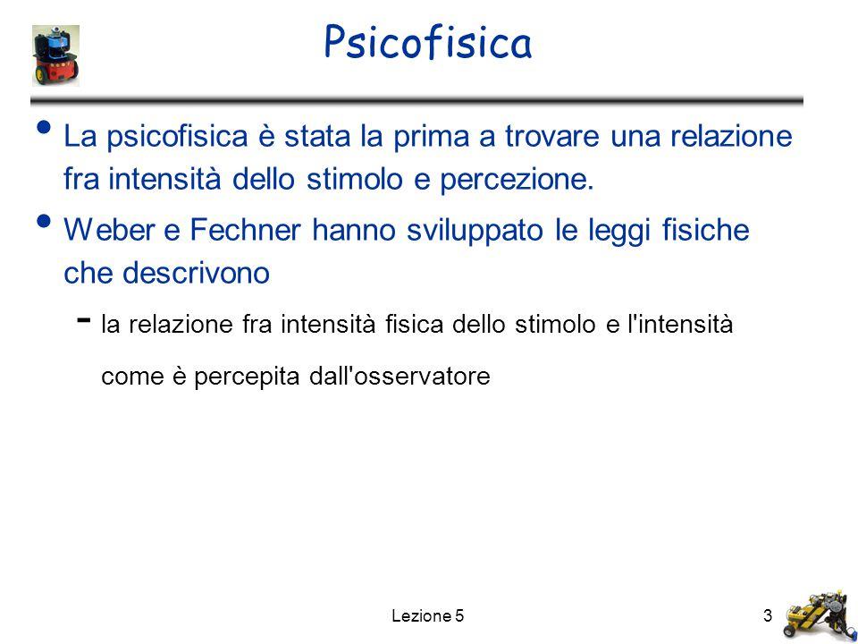 Lezione 53 Psicofisica La psicofisica è stata la prima a trovare una relazione fra intensità dello stimolo e percezione. Weber e Fechner hanno svilupp