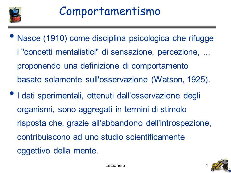 Lezione 54 Comportamentismo Nasce (1910) come disciplina psicologica che rifugge i