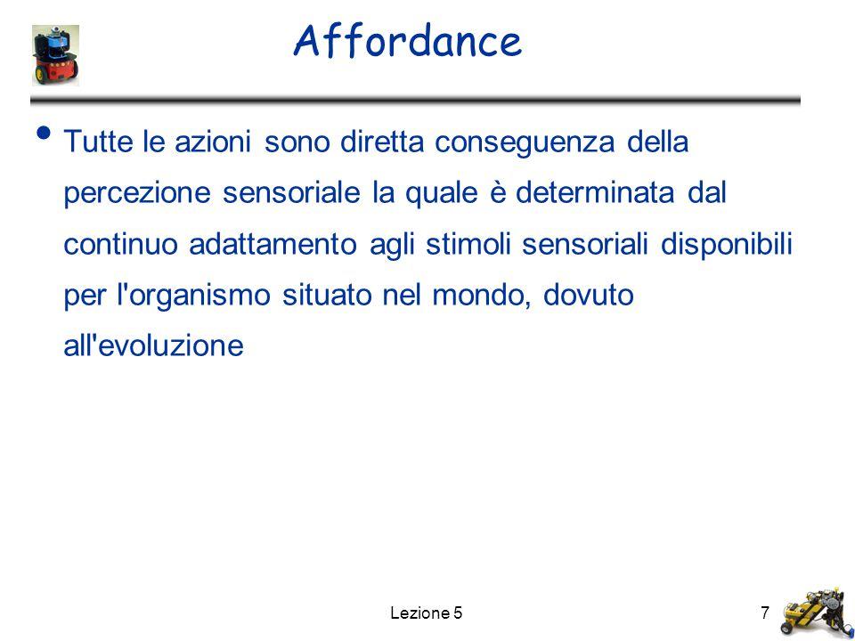 Lezione 57 Affordance Tutte le azioni sono diretta conseguenza della percezione sensoriale la quale è determinata dal continuo adattamento agli stimol