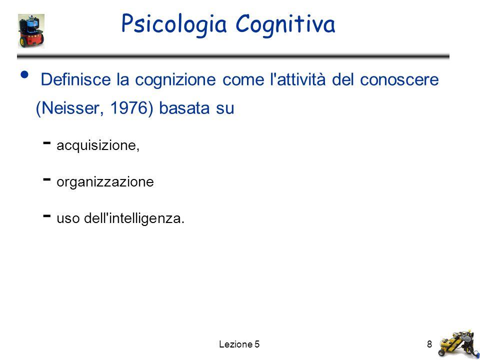 Lezione 58 Psicologia Cognitiva Definisce la cognizione come l'attività del conoscere (Neisser, 1976) basata su - acquisizione, - organizzazione - uso