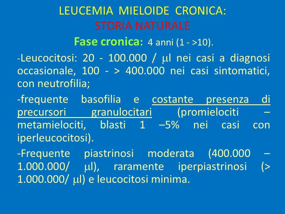 LEUCEMIA MIELOIDE CRONICA: STORIA NATURALE Fase cronica : 4 anni (1 - >10).