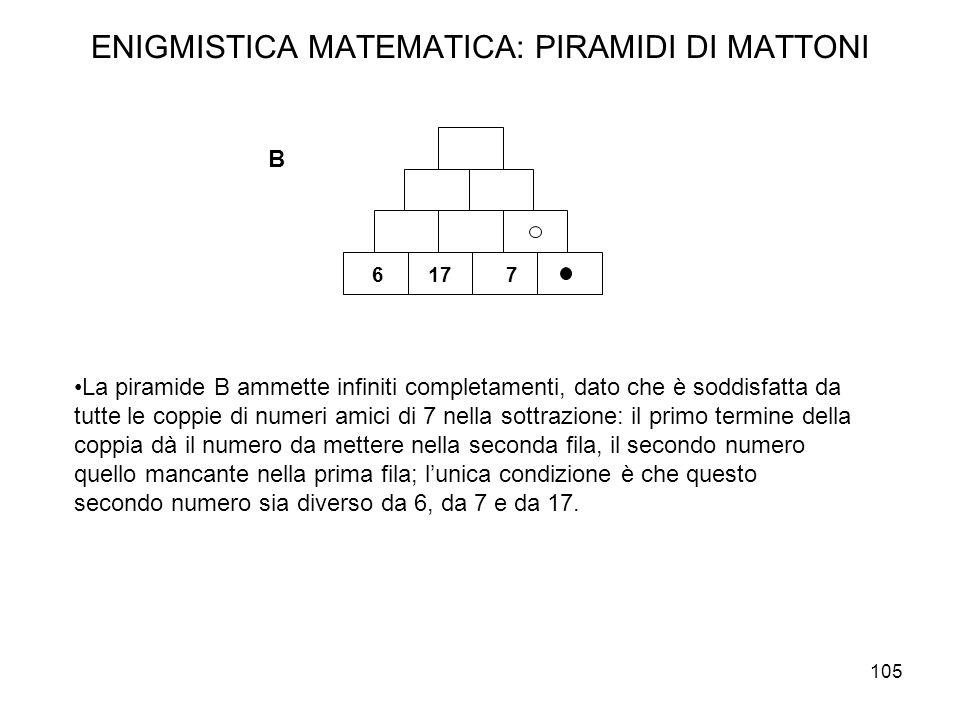105 ENIGMISTICA MATEMATICA: PIRAMIDI DI MATTONI La piramide B ammette infiniti completamenti, dato che è soddisfatta da tutte le coppie di numeri amic