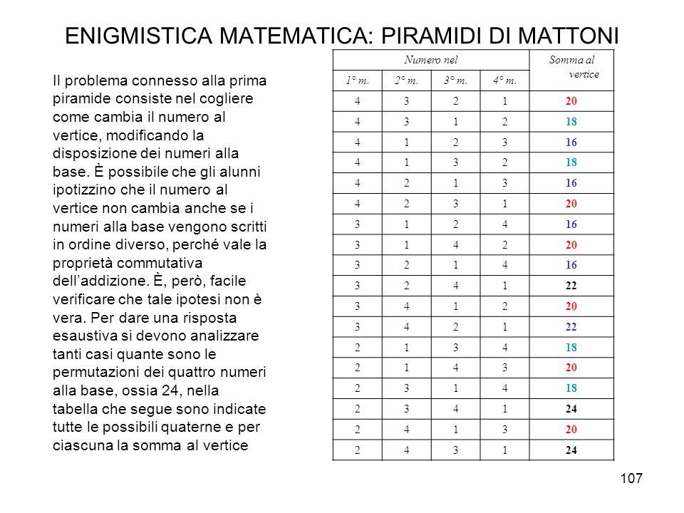 107 ENIGMISTICA MATEMATICA: PIRAMIDI DI MATTONI Il problema connesso alla prima piramide consiste nel cogliere come cambia il numero al vertice, modif