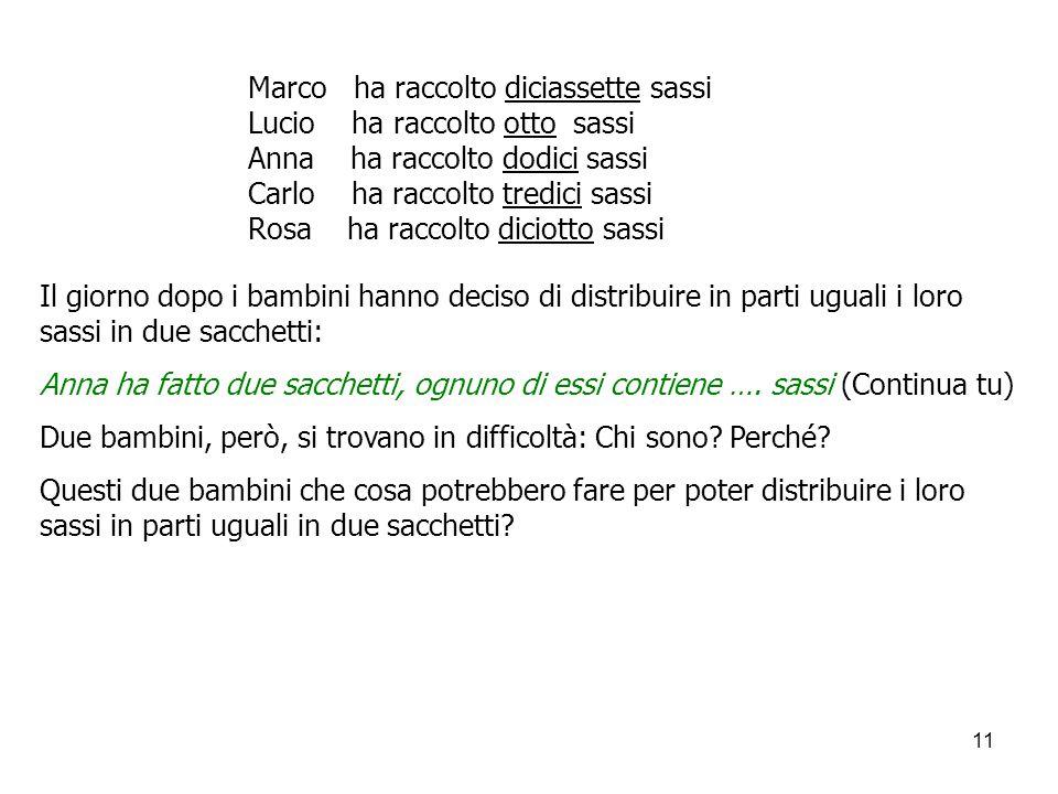 11 Marco ha raccolto diciassette sassi Lucio ha raccolto otto sassi Anna ha raccolto dodici sassi Carlo ha raccolto tredici sassi Rosa ha raccolto dic