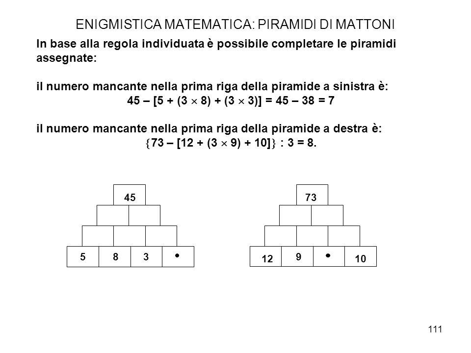 111 ENIGMISTICA MATEMATICA: PIRAMIDI DI MATTONI In base alla regola individuata è possibile completare le piramidi assegnate: il numero mancante nella