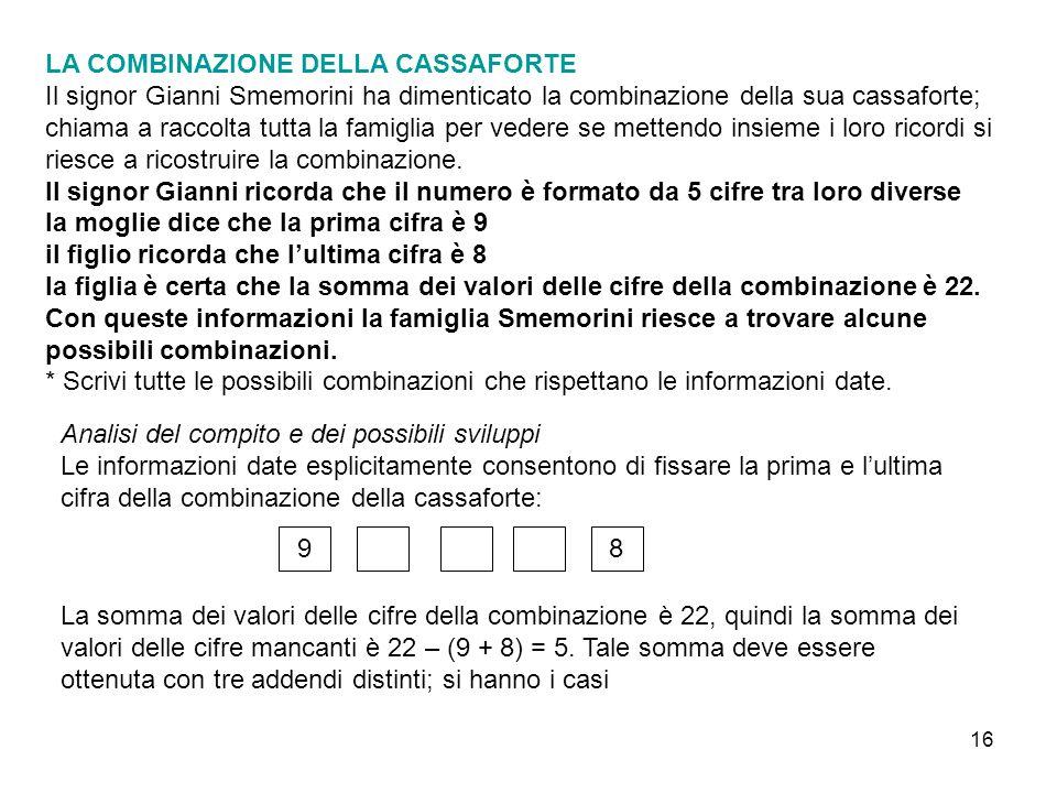 16 LA COMBINAZIONE DELLA CASSAFORTE Il signor Gianni Smemorini ha dimenticato la combinazione della sua cassaforte; chiama a raccolta tutta la famigli