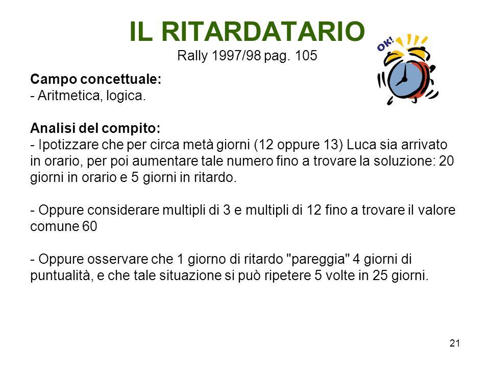 21 IL RITARDATARIO Rally 1997/98 pag. 105 Campo concettuale: - Aritmetica, logica. Analisi del compito: - Ipotizzare che per circa metà giorni (12 opp