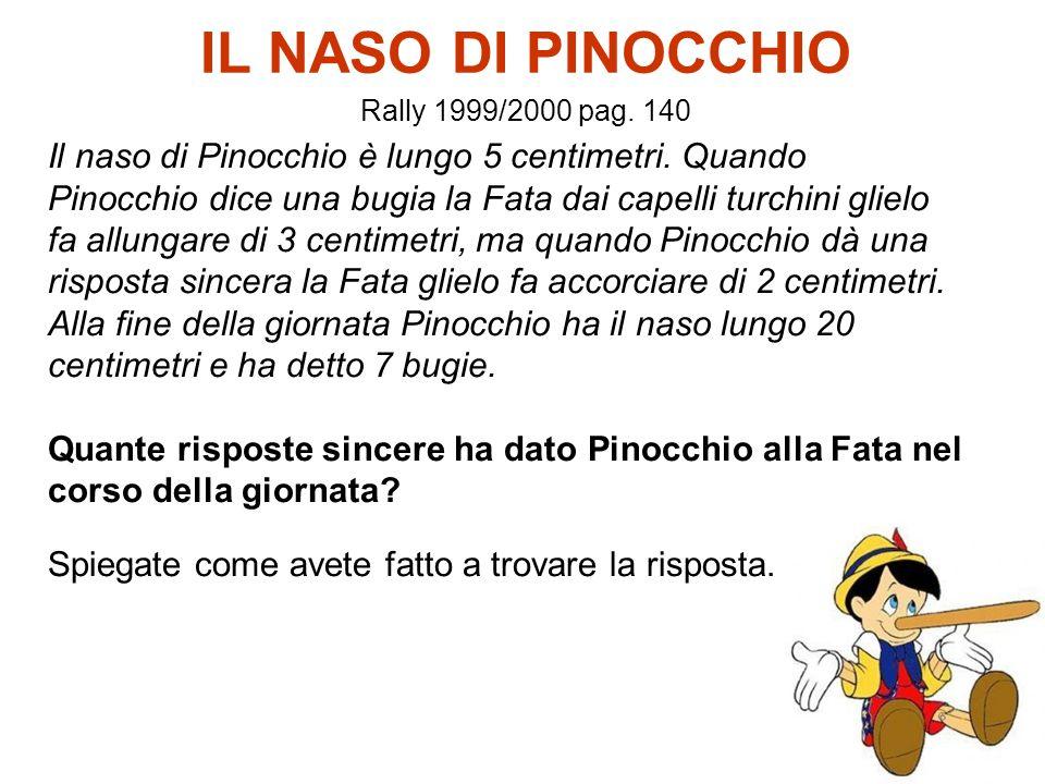 22 IL NASO DI PINOCCHIO Rally 1999/2000 pag. 140 Il naso di Pinocchio è lungo 5 centimetri. Quando Pinocchio dice una bugia la Fata dai capelli turchi