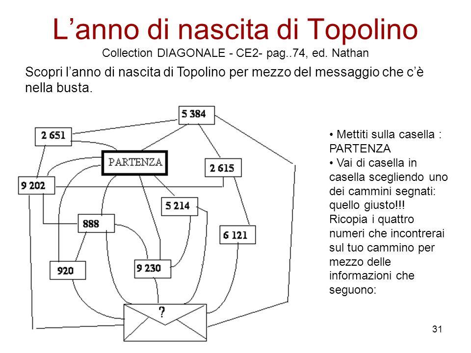 31 L'anno di nascita di Topolino Collection DIAGONALE - CE2- pag..74, ed. Nathan Scopri l'anno di nascita di Topolino per mezzo del messaggio che c'è