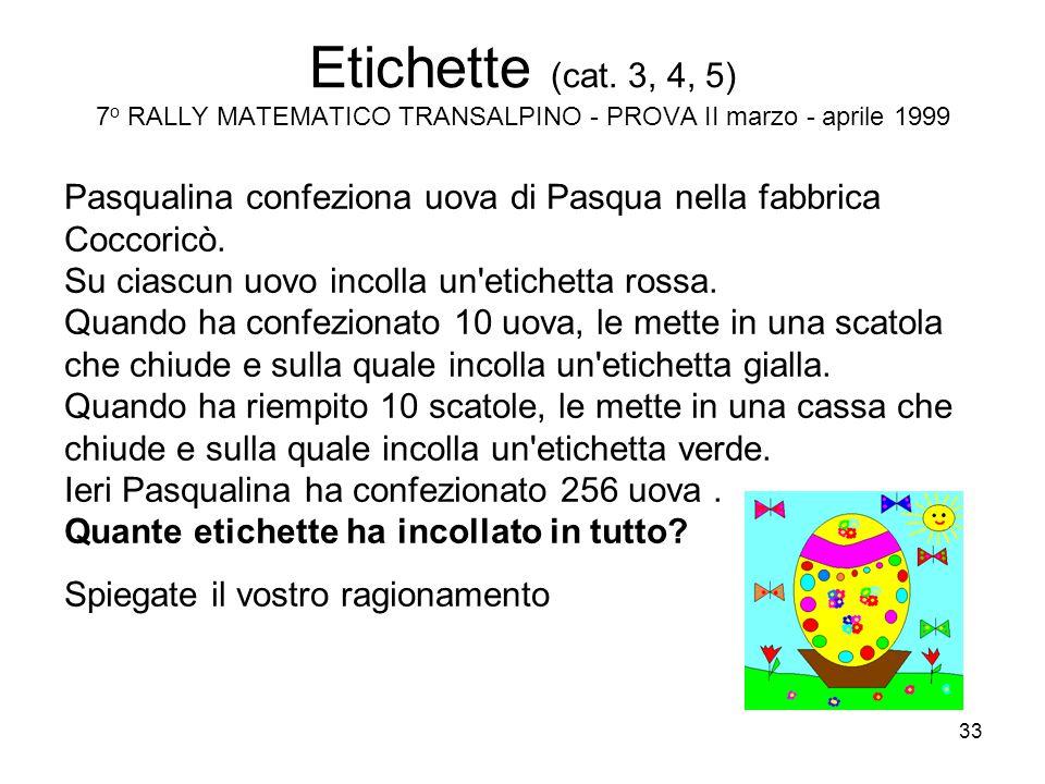33 Etichette (cat. 3, 4, 5) 7 o RALLY MATEMATICO TRANSALPINO - PROVA II marzo - aprile 1999 Pasqualina confeziona uova di Pasqua nella fabbrica Coccor