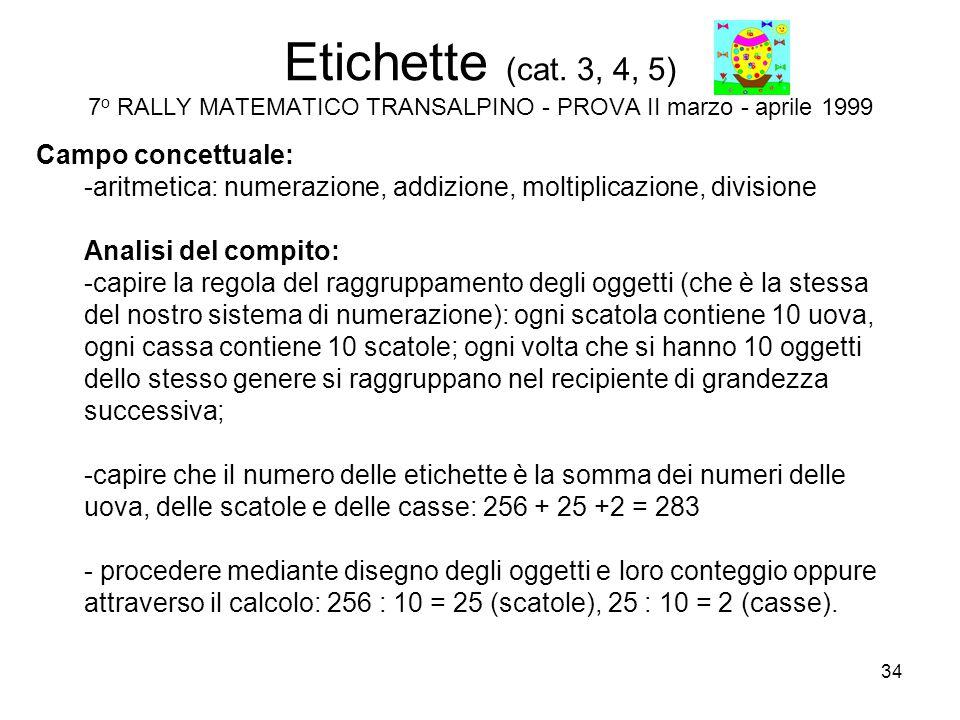 34 Etichette (cat. 3, 4, 5) 7 o RALLY MATEMATICO TRANSALPINO - PROVA II marzo - aprile 1999 Campo concettuale: -aritmetica: numerazione, addizione, mo
