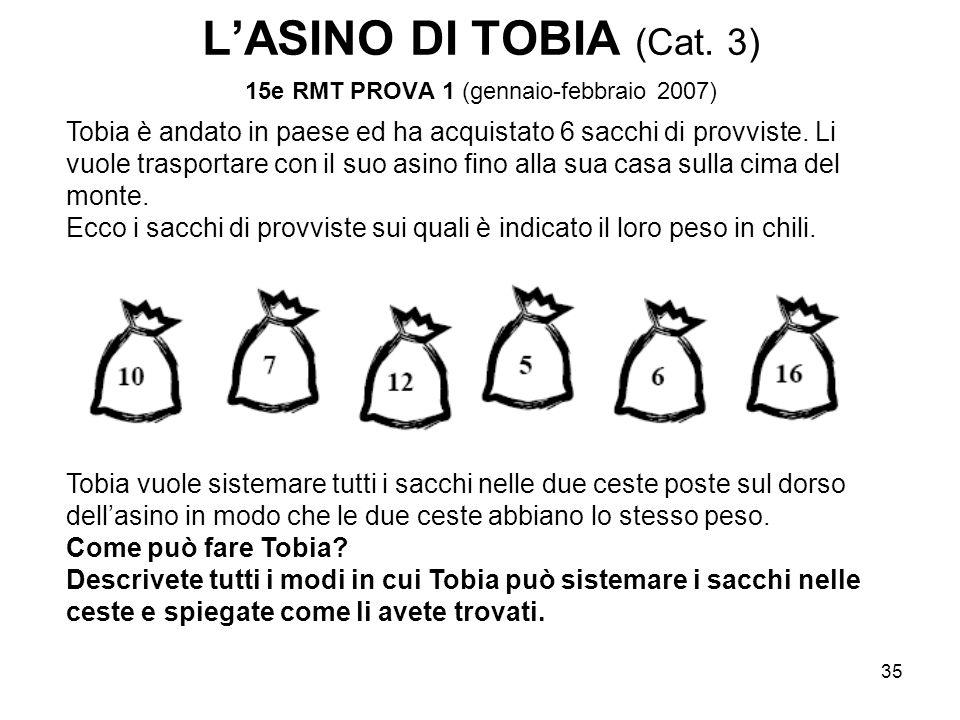 35 L'ASINO DI TOBIA (Cat. 3) 15e RMT PROVA 1 (gennaio-febbraio 2007) Tobia è andato in paese ed ha acquistato 6 sacchi di provviste. Li vuole trasport