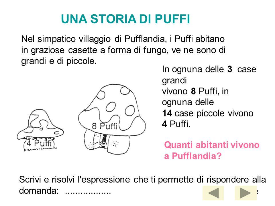 43 UNA STORIA DI PUFFI Nel simpatico villaggio di Pufflandia, i Puffi abitano in graziose casette a forma di fungo, ve ne sono di grandi e di piccole.