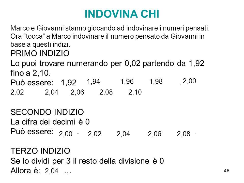 """46 INDOVINA CHI Marco e Giovanni stanno giocando ad indovinare i numeri pensati. Ora """"tocca"""" a Marco indovinare il numero pensato da Giovanni in base"""