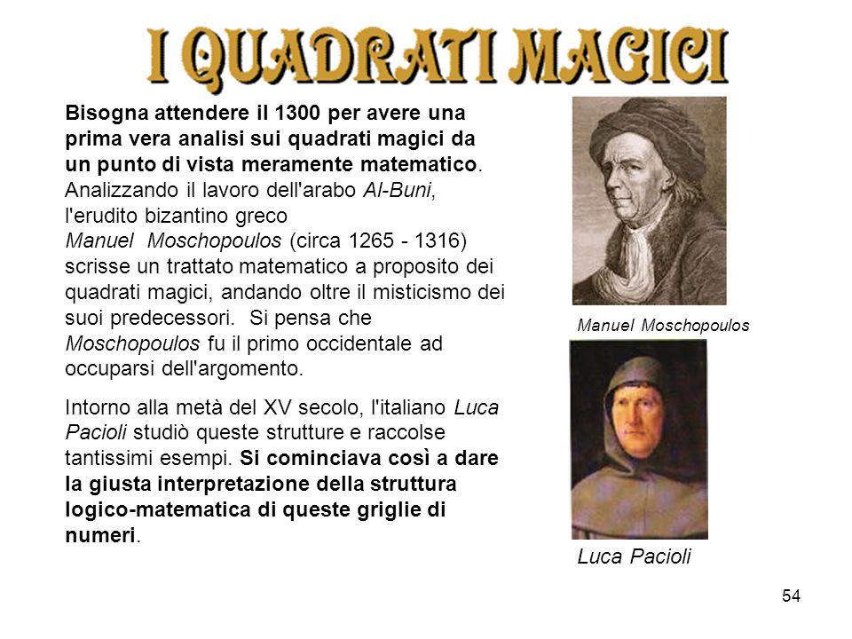 54 Bisogna attendere il 1300 per avere una prima vera analisi sui quadrati magici da un punto di vista meramente matematico. Analizzando il lavoro del