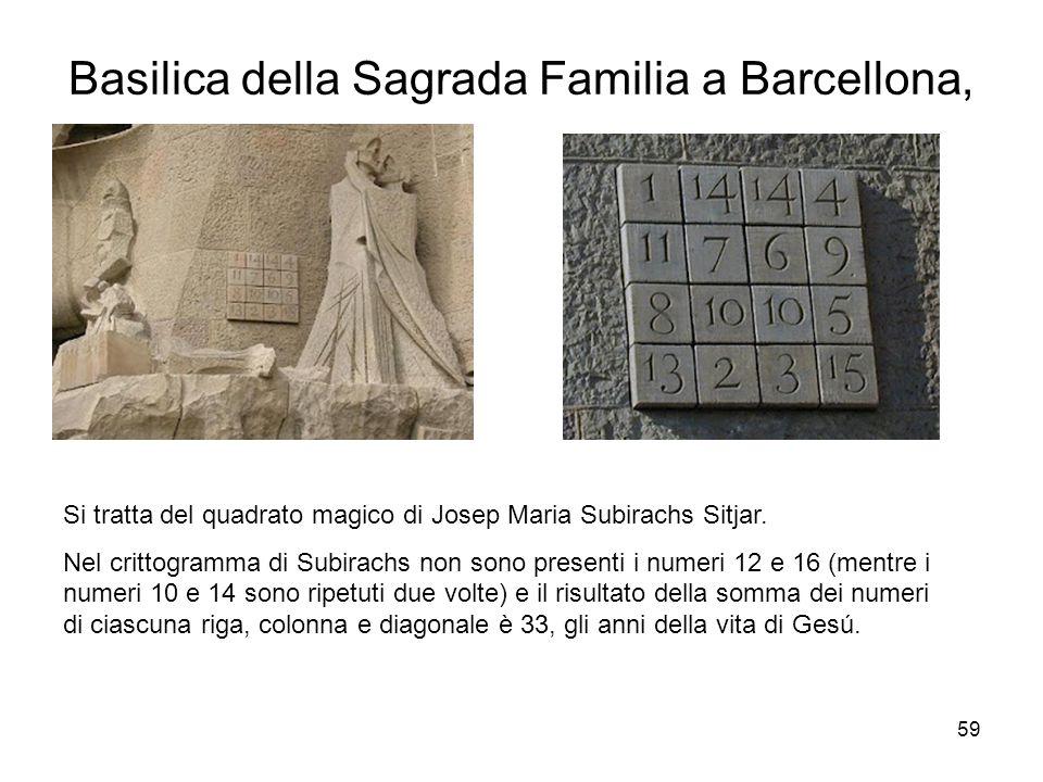 59 Basilica della Sagrada Familia a Barcellona, Si tratta del quadrato magico di Josep Maria Subirachs Sitjar. Nel crittogramma di Subirachs non sono