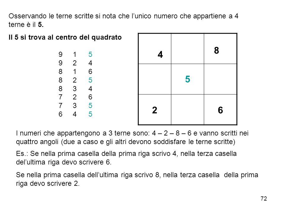72 Osservando le terne scritte si nota che l'unico numero che appartiene a 4 terne è il 5. Il 5 si trova al centro del quadrato 91 5 92 4 81 6 82 5 83