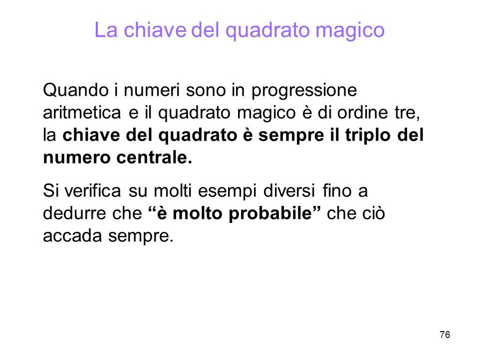 76 La chiave del quadrato magico Quando i numeri sono in progressione aritmetica e il quadrato magico è di ordine tre, la chiave del quadrato è sempre