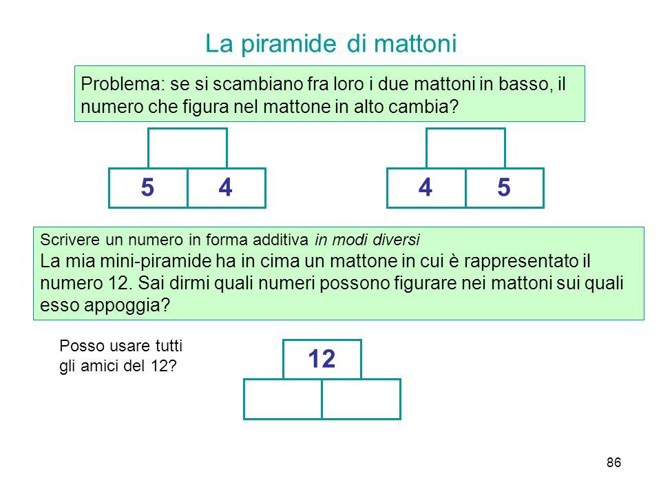 86 La piramide di mattoni Problema: se si scambiano fra loro i due mattoni in basso, il numero che figura nel mattone in alto cambia? 5445 Scrivere un
