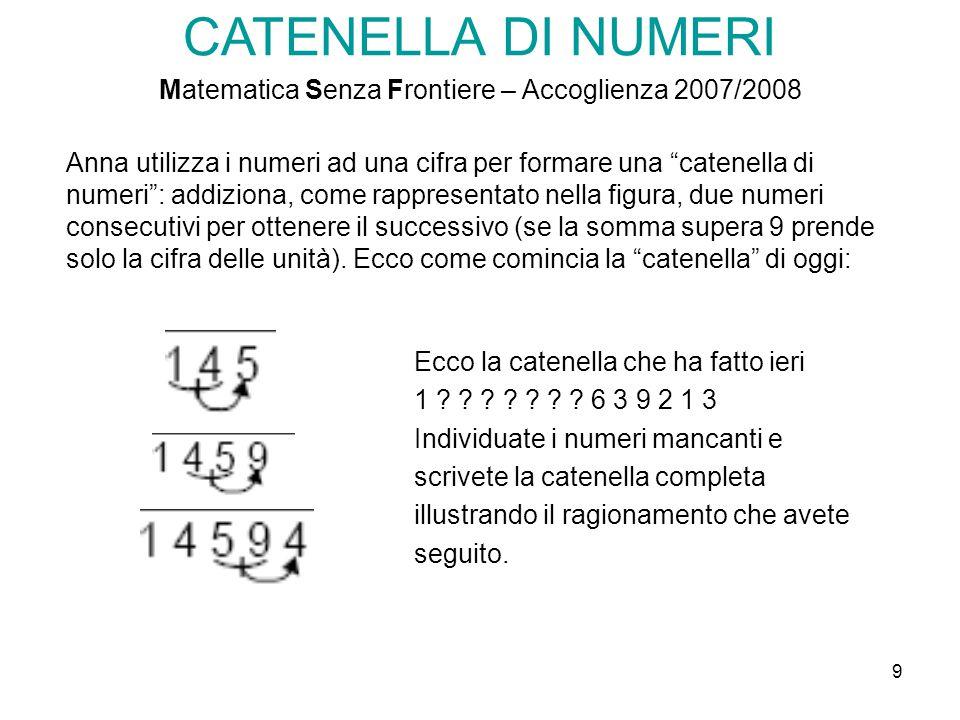 """9 CATENELLA DI NUMERI Matematica Senza Frontiere – Accoglienza 2007/2008 Anna utilizza i numeri ad una cifra per formare una """"catenella di numeri"""": ad"""