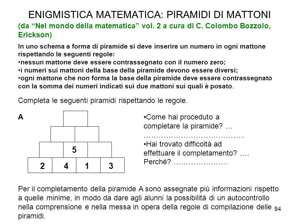"""94 ENIGMISTICA MATEMATICA: PIRAMIDI DI MATTONI (da """"Nel mondo della matematica"""" vol. 2 a cura di C. Colombo Bozzolo, Erickson) In uno schema a forma d"""